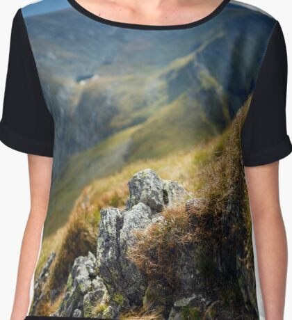 Mountain range with selective focus Chiffon Top