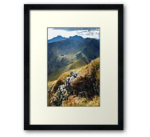 Mountain range with selective focus Framed Print