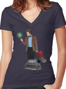 The 11th Doctor and K-9 Women's Fitted V-Neck T-Shirt