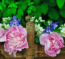 Peonies on a tray by GryThunes
