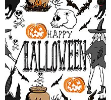 Halloween. Hand drawn seamless pattern.  Photographic Print