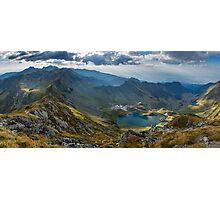 High resolution panorama of aerial view of Balea Lake Photographic Print