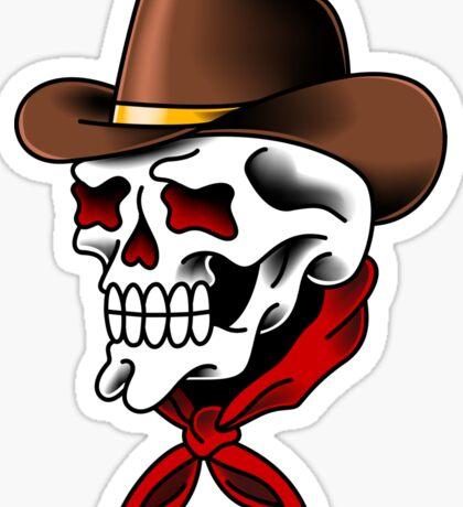American Traditional Cowboy Skull Sticker