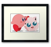 "Kirby and Jigglypuff ""Best Buds"" Vector Framed Print"