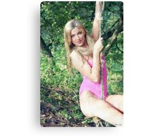 Rope Swing Girl Canvas Print