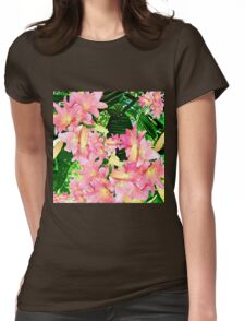 Palms and Pink Lily Womens Fitted T-Shirt