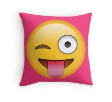 Face Emoticon Tongue Out Emoji with Wink Design Throw Pillow