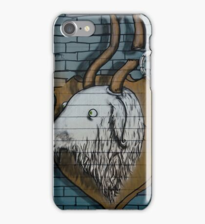 Goat mural Graffiti detail on the textured wall iPhone Case/Skin