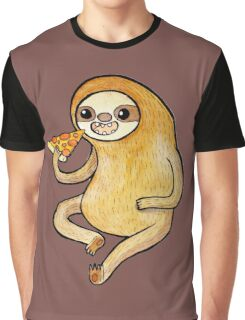 Sloth Eating Pizza Graphic T-Shirt