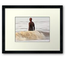 Gormley Statue in the Sea (Digital Art) Framed Print