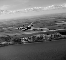 Lancaster over the white cliffs in Kent black and white version by Gary Eason + Flight Artworks