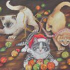 Christmas art, cats playing with Christmas tree decorations by AlessandraArt
