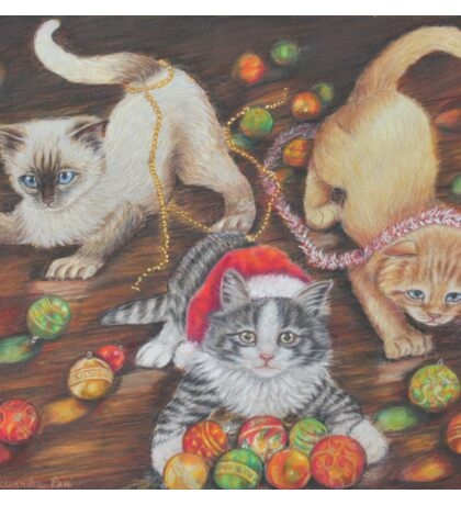 Christmas art, cats playing with Christmas tree decorations Sticker
