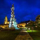 The Central Square Stefanikovo Namestie of Kremnica at night by Zoltán Duray