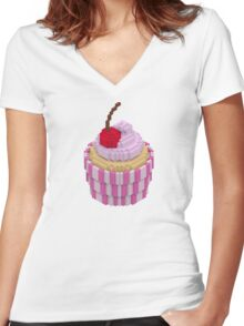 Cherry cupcake Women's Fitted V-Neck T-Shirt