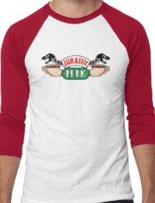 Jurassic Park x Central Perk - Jurassic World/FRIENDS parody Men's Baseball ¾ T-Shirt