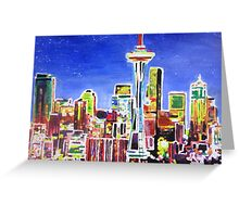 Neon Shimmering Skyline of Seattle With Space Needle  Greeting Card