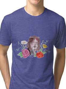 DARYL WATERCOLOUR FLOWER PRINT Tri-blend T-Shirt