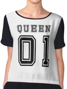 Sports Queen - Funny College Football Retro Design for Girls Chiffon Top