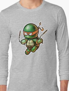 """TMNT -""""Mikey"""" POOTERBELLY - DIE CUT Long Sleeve T-Shirt"""