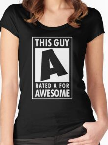 This guy is rated A for awesome Women's Fitted Scoop T-Shirt