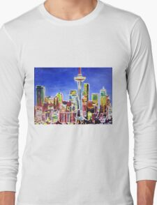 Neon Shimmering Skyline of Seattle With Space Needle  T-Shirt