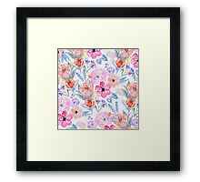 Hand painted pink coral watercolor flowers Framed Print