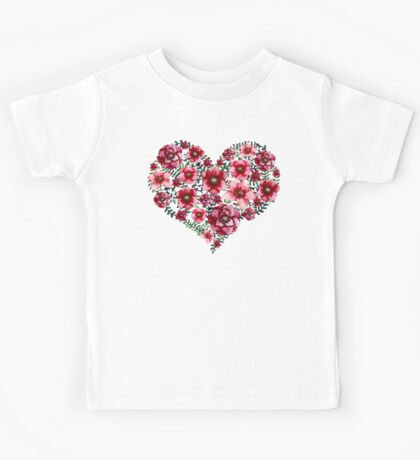 Watercolor Floral Heart with Bright Red Flowers and Green Leaves Kids Tee