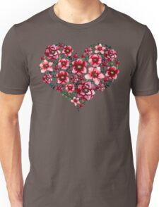 Watercolor Floral Heart with Bright Red Flowers and Green Leaves Unisex T-Shirt