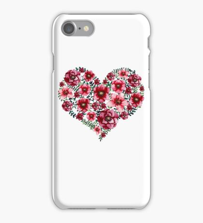 Watercolor Floral Heart with Bright Red Flowers and Green Leaves iPhone Case/Skin