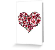 Watercolor Floral Heart with Bright Red Flowers and Green Leaves Greeting Card