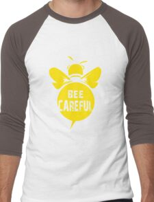 Bee Careful Cool Bee Graphic Typo Design Men's Baseball ¾ T-Shirt