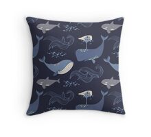 Whales of the Sea Throw Pillow