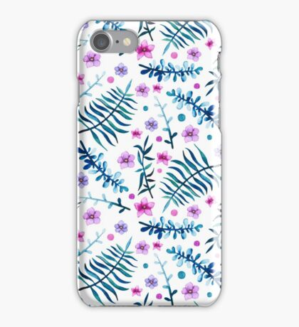 Watercolor Bright Blue Leaves and Little Pink Flowers iPhone Case/Skin