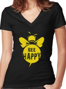 Bee Happy Cool Bee Graphic Typo Design Women's Fitted V-Neck T-Shirt
