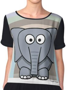 Cool Funny Cartoon Elephant Rainbow Cute Design Chiffon Top
