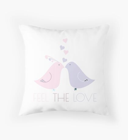 Two Cartoon Love Birds Kissing Throw Pillow