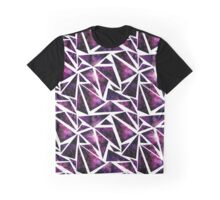 Watercolor Triangles with Bright Purple Nebula Graphic T-Shirt