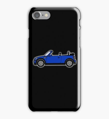 Mini, Cooper, Convertible, BMW, Motor, Car, Soft Top, BLUE, on Black iPhone Case/Skin