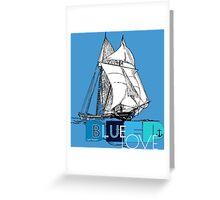 Deep Blue Ocean Love Sailing Design Greeting Card