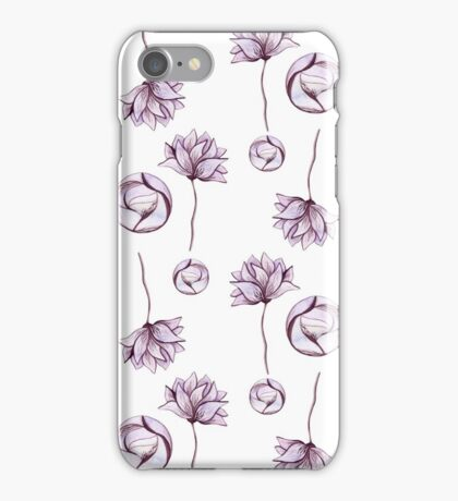 Watercolor Abstract Circles and Light Purple Flowers iPhone Case/Skin