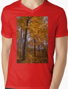 Golden Leaves and Dark Branches - Autumn in the Forest Mens V-Neck T-Shirt
