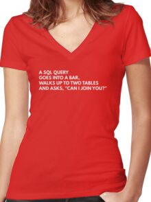 A SQL query goes into a bar... Women's Fitted V-Neck T-Shirt