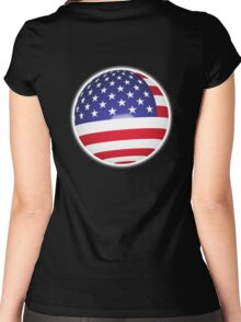 American Flag, Ball, Globe, Sphere, Stars & Stripes, Pure & Simple, America, USA, on black Women's Fitted Scoop T-Shirt