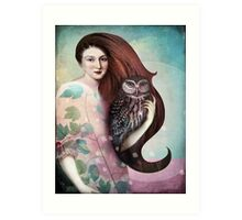 She and her Owl Art Print