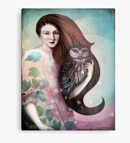 She and her Owl Metal Print