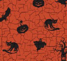 Halloween pattern on crackle orange background Sticker