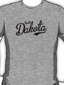 North Dakota Script Black T-Shirt