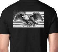 USA, Flag, War Eagle, America, American, Black and White Unisex T-Shirt