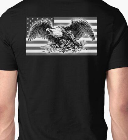 VINTAGE, cool,  War Eagle, USA, Flag, America, American, Black and White Unisex T-Shirt